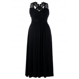 Plus Size Empire Waist Lace Insert Maxi Dress - Black - 2xl