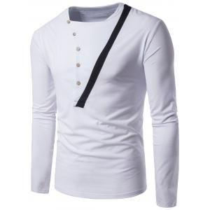 Panel Design Oblique Buttons Long Sleeve T-shirt