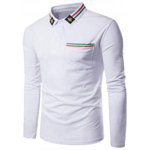 Bee Embroidered Stripe Braid Embellished Polo Collar T-shirt