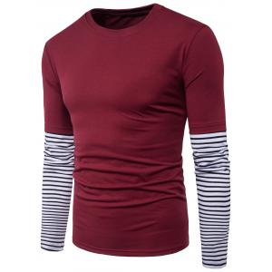 Long Sleeve Striped Panel Design Faux Twinset T-shirt