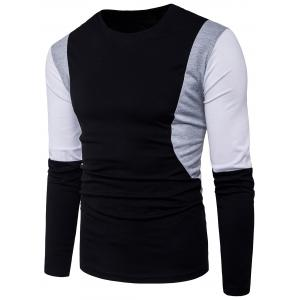 Long Sleeve Color Block Panel Design T-shirt