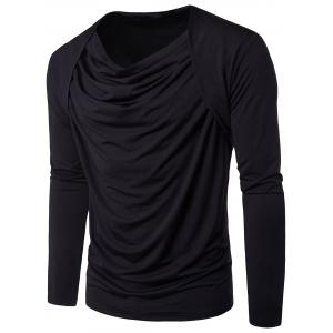 Pleated Cowl Neck Long Sleeve Hip Hop T-shirt - Black - M