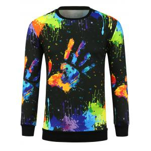 3D Colorful Hand Splatter Paint Print Crew Neck Sweatshirt