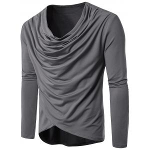 Pleated Cowl Neck Long Sleeve T-shirt