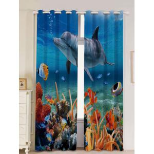 2Pcs Ocean Dolphin Blackout Window Curtains - Blue - W53 Inch * L96.5 Inch