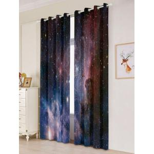 2 Panels Universe Space Blackout Window Curtains - DEEP BLUE W53 INCH * L84.5 INCH