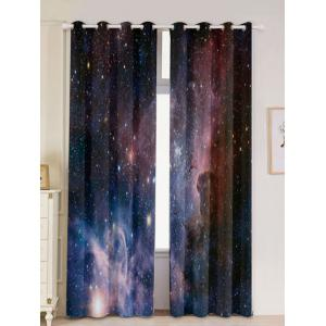 2 Panels Universe Space Blackout Window Curtains - Deep Blue - W53 Inch * L96.5 Inch
