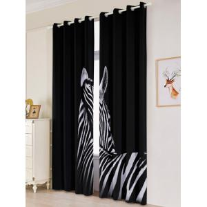 2 Panel Thermal Insulated Zebra Window Blackout Curtain - BLACK W53 INCH * L96.5 INCH