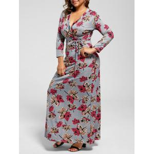 Plus Size Leaf Print Floor Length Dress