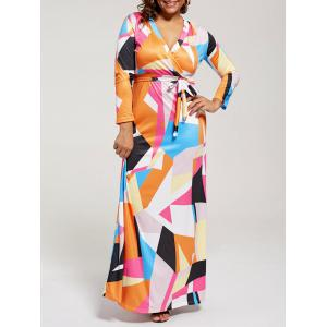 V Neck Color Block Long Plus Size Dress