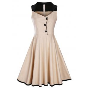 A Line Sleeveless Plus Size Vintage Dress