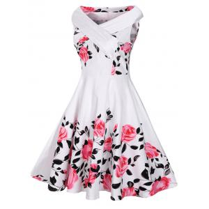 V Neck Floral Plus Size Vintage Dress - WHITE 2XL
