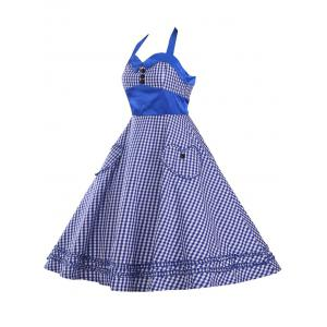 Halter Plaid Vintage Plus Size Dress - BLUE 3XL