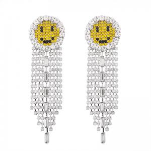 Rhinestoned Smile Fringed Chain Earrings