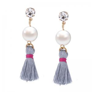 Faux Pearl Rhinestone Tassel Earrings