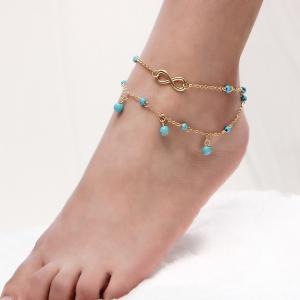 Layered Faux Turquoise Infinite Charm Anklet
