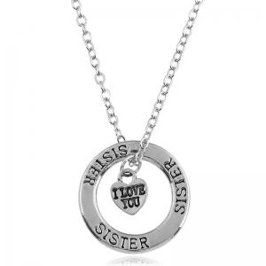 Heart Engraved Sister I Love You Necklace - Silver