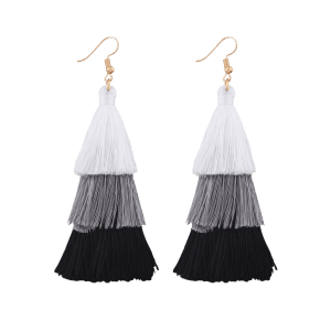 Layered Tassel Drop Hook Earrings - Black + White - 2xl
