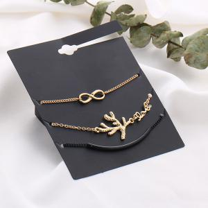 Rhinestone Infinite Tree Anklet Set -
