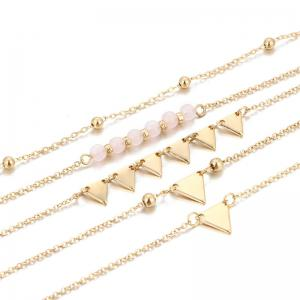 Beaded Triangle Chain Ankle Set - GOLDEN