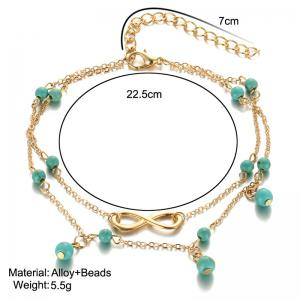 Layered Faux Turquoise Infinite Charm Anklet -
