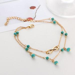 Layered Faux Turquoise Infinite Charm Anklet - GOLDEN