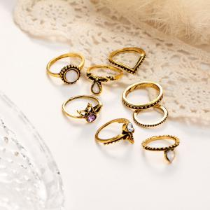 Vintage Rhinestone Teardrop Circle Ring Set -