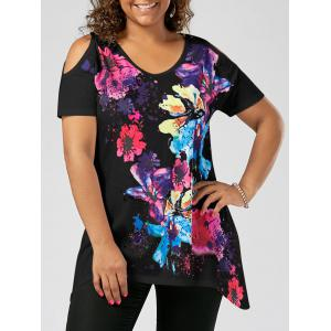 Splatter Paint Plus Size Cold Shoulder T-shirt - Black - 3xl