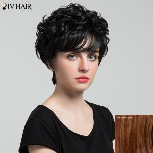 Siv Hair Short Oblique Bang Shaggy Curly Layered Human Hair Wig