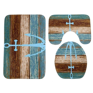 Bathroom Decor 3pcs Set Vintage Anchor Mats