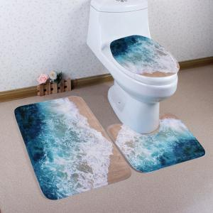 Seawater 3Pcs/Set Coral Fleece Mats For Bathroom