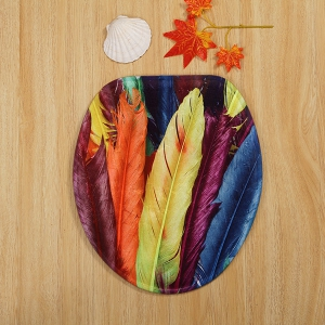 Colorful Feather 3 Pieces Bathroom Mat Set -