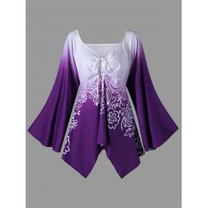 Plus Size Long Flared Sleeve Flower T-Shirt - Purple - 5xl