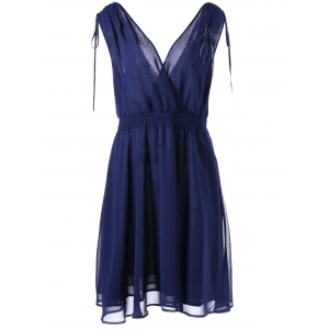 Empire Waist Plus Size Surplice Chiffon Dress