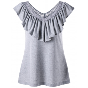Ruched Ruffles V Neck Tank Top