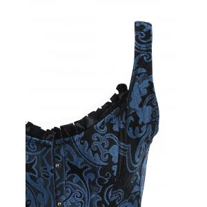 Brocade Lace Up Corset Vest - BLUE 2XL
