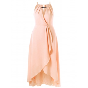 Plus Size Cut Out Overlap Flowy Dress - Pinkbeige - 3xl