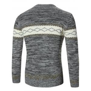 Space Dyed Rhombus Pattern Crew Neck Sweater -