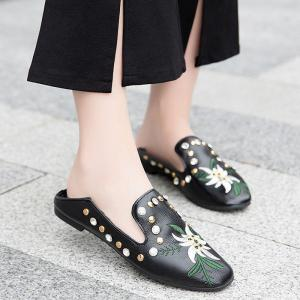 Studded Embroidery Flat Shoes - Black - 41
