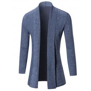 Open Front Shawl Collar Heathered Cardigan