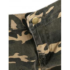 Camo Distressed Knee Length Shorts - ACU CAMOUFLAGE XS