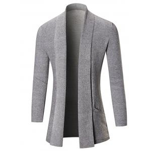 Open Front Shawl Collar Heathered Cardigan - Light Gray - M