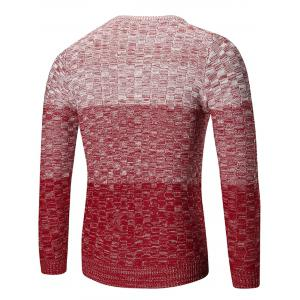 Crew Neck Ombre Checked Sweater - RED M
