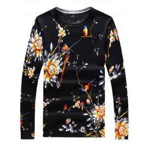 Long Sleeve 3D Flowers and Birds Print Sweater - Black - L