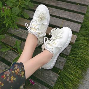 Faux Leather Flower Embellished Sneakers - White - 37