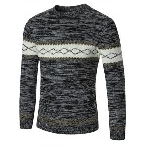 Space Dyed Rhombus Pattern Crew Neck Sweater - Deep Gray - 2xl
