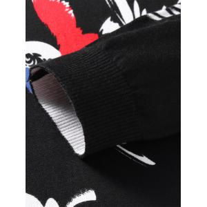 Long Sleeve 3D Birds and Floral Print Sweater - BLACK M