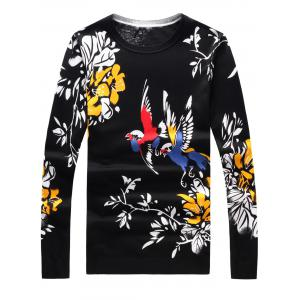 Long Sleeve 3D Birds and Floral Print Sweater - Black - L