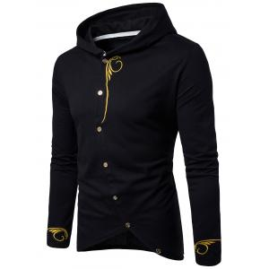 Long Sleeve Oblique Buttons Design Embroidered T-shirt