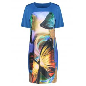 Butterfly Printed Plus Size Casual T-shirt Dress